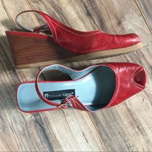 Gorgeous Red Leather Etienne Aigner Wedge Heals